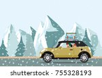 happy family going to a winter... | Shutterstock .eps vector #755328193