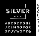 silver font. alphabet with...   Shutterstock . vector #755345863