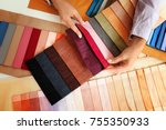 young woman with fabric samples ... | Shutterstock . vector #755350933