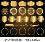 golden shields laurel wreaths... | Shutterstock .eps vector #755352523