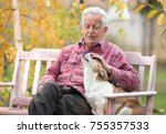 Stock photo senior man cuddling cute dog on bench in park with yellow tree in background in autumn pet love 755357533