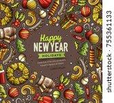 cartoon vector doodles merry... | Shutterstock .eps vector #755361133