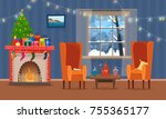 chairs and table with cus of... | Shutterstock .eps vector #755365177