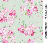 blooming spring flowers pattern ... | Shutterstock .eps vector #755366683