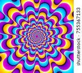 colorful spirals. optical... | Shutterstock .eps vector #755367133