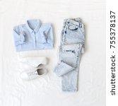 light blue shirt  ripped... | Shutterstock . vector #755378137