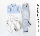 light blue shirt  ripped... | Shutterstock . vector #755378143