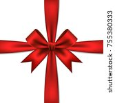 red gift bow and ribbon ... | Shutterstock .eps vector #755380333