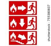 vector. exit sign. emergency...   Shutterstock .eps vector #755380837