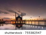 the floating mosque amirul... | Shutterstock . vector #755382547