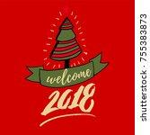 happy new year 2018 hand... | Shutterstock .eps vector #755383873