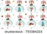 hand drawn vector abstract fun... | Shutterstock .eps vector #755384203