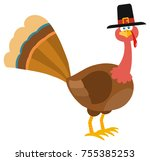 thanksgiving turkey bird with... | Shutterstock .eps vector #755385253