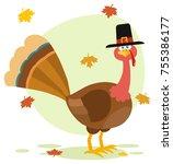 thanksgiving turkey bird with...   Shutterstock .eps vector #755386177