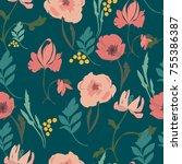 the illustration shows flowers | Shutterstock .eps vector #755386387