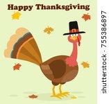 thanksgiving turkey bird with...   Shutterstock .eps vector #755386897