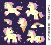 unicorn collection vector | Shutterstock .eps vector #755388943