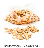 pumpkin seeds in the plastic... | Shutterstock . vector #755391733