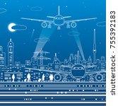 airport illustration. aviation... | Shutterstock .eps vector #755392183
