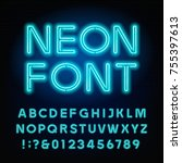 Blue neon tube alphabet font. Neon color letters and numbers. Stock vector typeset for your headers or any typography design. | Shutterstock vector #755397613