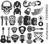 set of the rock music design... | Shutterstock .eps vector #755398903