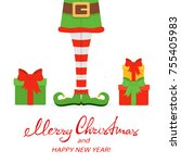 lettering merry christmas and... | Shutterstock .eps vector #755405983