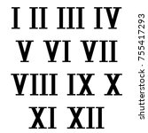 roman numerals. black numbers... | Shutterstock .eps vector #755417293