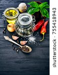 spice and herb on old wooden... | Shutterstock . vector #755418943