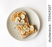 peanut butter chia seed banana...   Shutterstock . vector #755419207