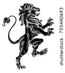 a lion standing rampant on its... | Shutterstock . vector #755440693