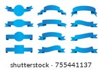 ribbon banner set.vector blue... | Shutterstock .eps vector #755441137
