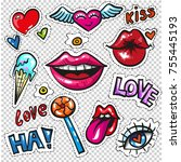 fashion patch badges with lips  ... | Shutterstock . vector #755445193