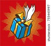 blue gift box with golden... | Shutterstock . vector #755445997