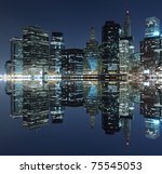 manhattan skyline at night  new ... | Shutterstock . vector #75545053