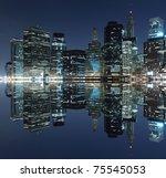 Manhattan Skyline At Night  Ne...