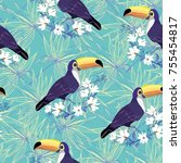 seamless tropical pattern with... | Shutterstock . vector #755454817