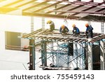 construction workers are... | Shutterstock . vector #755459143