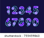 set of ten numbers form zero to ... | Shutterstock .eps vector #755459863