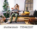 christmas holiday couple happy... | Shutterstock . vector #755462107