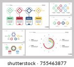 six finance slide templates set | Shutterstock .eps vector #755463877