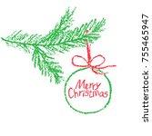 christmas ball on tree branch... | Shutterstock .eps vector #755465947
