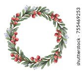 watercolor christmas wreath of... | Shutterstock . vector #755469253