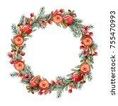 watercolor christmas wreath of...   Shutterstock . vector #755470993