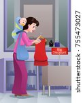 shopping mom and baby | Shutterstock .eps vector #755473027