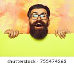 bearded man  long beard  brutal ... | Shutterstock . vector #755474263