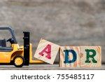 yellow plastic forklift hold... | Shutterstock . vector #755485117