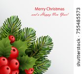 christmas card template with... | Shutterstock .eps vector #755485573