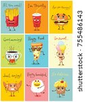 cartoon funny food characters... | Shutterstock .eps vector #755486143