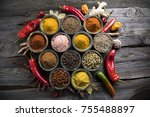 variety of spices and herbs on...   Shutterstock . vector #755488897