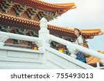 asian young woman walking up to ... | Shutterstock . vector #755493013